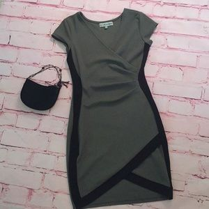 Almost famous green and black statement dress